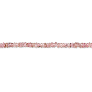 bead, pink tourmaline (natural), 2x1mm-3x2mm hand-cut rondelle, b- grade, mohs hardness 7 to 7-1/2. sold per 12-inch strand.