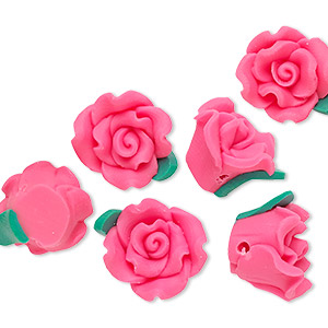 bead, polymer clay, dark pink and green, 13x13x9mm flower. sold per pkg of 6.