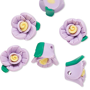 bead, polymer clay, lavender / yellow / green, 14x13x10mm flower. sold per pkg of 6.