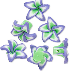 bead, polymer clay, purple / white / green, 15x15x9mm flower. sold per pkg of 6.