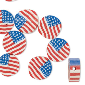 bead, polymer clay, red / white / blue, 10mm two-sided flat round with usa flag. sold per pkg of 10.