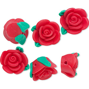 bead, polymer clay, red and green, 14x13x8mm rose. sold per pkg of 6.