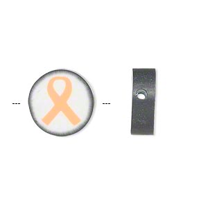 bead, polymer clay, white / black / orange, 14mm double-sided flat round with awareness ribbon. sold per pkg of 30.