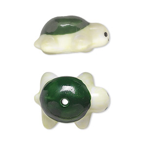 bead, porcelain, black / green / light green, 22x17mm hand-painted turtle. sold per pkg of 6.