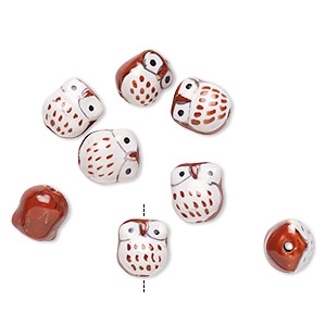 bead, porcelain, brown / white / black, 16x14mm hand-painted owl. sold per pkg of 8.
