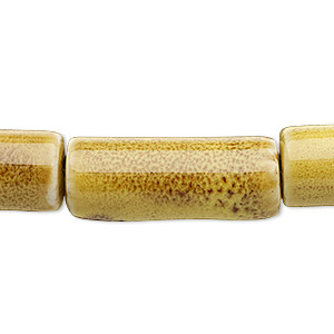 bead, porcelain, golden yellow, 26x10mm-28x11mm round tube. sold per 8-inch strand.