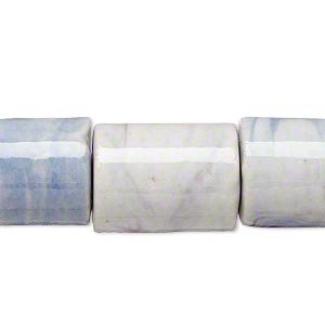 bead, porcelain, marbled white/purple/blue, 18x14mm-22x16mm round tube. sold per 15-inch strand.
