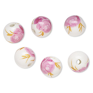 bead, porcelain, white / pink / yellow, 12mm round with rose decal, 3-3.5mm hole. sold per pkg of 6.