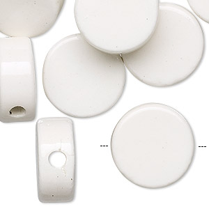 bead, porcelain, white, 16mm flat round. sold per pkg of 16.