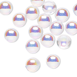 bead, preciosa candy™, czech pressed glass, transparent clear ab, 8mm candy with (2) 0.8-0.9mm holes. sold per pkg of 20.
