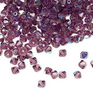 bead, preciosa czech crystal, amethyst ab, 4mm faceted bicone. sold per pkg of 144 (1 gross).