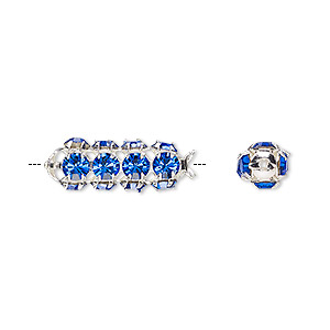 bead, preciosa czech crystal and silver-plated brass, sapphire, 20x7mm tube. sold per pkg of 12.