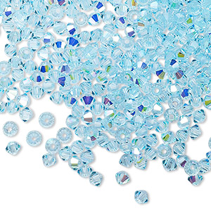 bead, preciosa czech crystal, aqua bohemica ab, 3mm faceted bicone with 0.7-0.8mm hole. sold per pkg of 144 (1 gross).
