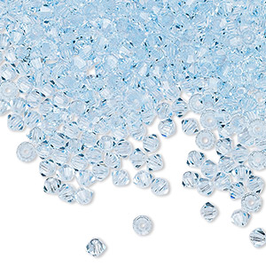 bead, preciosa czech crystal, aquamarine, 3mm faceted bicone with 0.7-0.8mm hole. sold per pkg of 1,440 (10 gross).