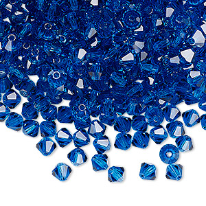 bead, preciosa czech crystal, capri blue, 4mm faceted bicone. sold per pkg of 48.