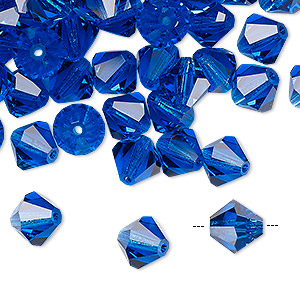 bead, preciosa czech crystal, capri blue, 8mm faceted bicone. sold per pkg of 72.