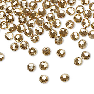 bead, preciosa czech crystal, crystal golden flare 2x, 4mm faceted round. sold per pkg of 720 (5 gross).