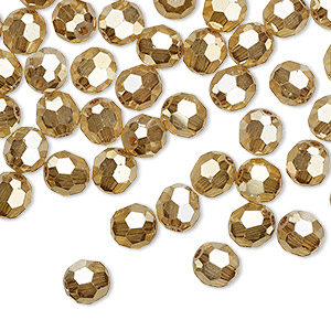 bead, preciosa czech crystal, crystal golden flare 2x, 6mm faceted round. sold per pkg of 144 (1 gross).