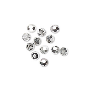 bead, preciosa czech crystal, crystal labrador, 4mm faceted round. sold per pkg of 12.