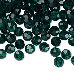 bead, preciosa czech crystal, emerald, 6mm faceted round. sold per pkg of 144 (1 gross).