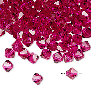bead, preciosa czech crystal, fuchsia, 6mm faceted bicone. sold per pkg of 288 (2 gross).