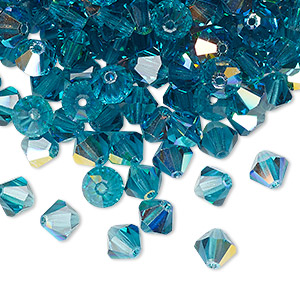 bead, preciosa czech crystal, indicolite ab, 6mm faceted bicone. sold per pkg of 288 (2 gross).