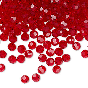 bead, preciosa czech crystal, light siam, 4mm faceted round. sold per pkg of 720 (5 gross).