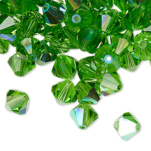 bead, preciosa czech crystal, peridot ab, 8mm faceted bicone. sold per pkg of 144 (1 gross).