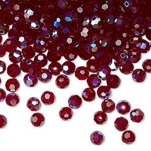 bead, preciosa czech crystal, siam ab, 4mm faceted round. sold per pkg of 720 (5 gross).