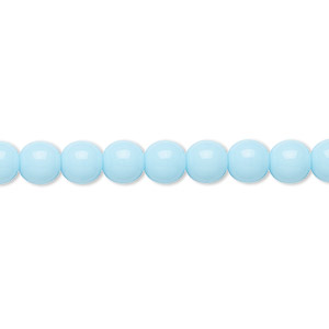 bead, preciosa, czech glass druk, opaque blue turquoise, 6mm round with 0.7-1.1mm hole. sold per 16-inch strand.