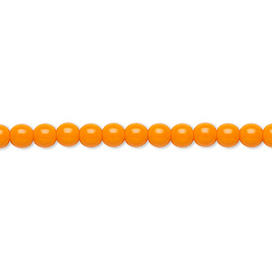 bead, preciosa, czech glass druk, opaque bright orange, 4mm round with 0.8-1mm hole. sold per 16-inch strand.