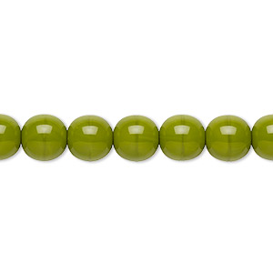 bead, preciosa, czech glass druk, opaque chartreuse, 8mm round with 0.8-1.3mm hole. sold per 16-inch strand.