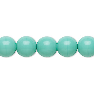 bead, preciosa, czech glass druk, opaque turquoise, 10mm round. sold per 16-inch strand.