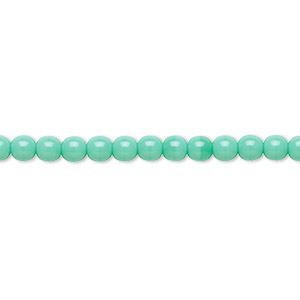 bead, preciosa, czech glass druk, opaque turquoise, 4mm round with 0.8-1mm hole. sold per 16-inch strand.