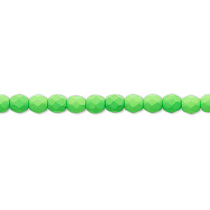 bead, preciosa, czech painted fire-polished glass, matte neon green, 4mm faceted round. sold per 8-inch strand, approximately 50 beads.