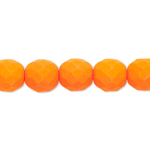 bead, preciosa, czech painted fire-polished glass, matte neon orange, 10mm faceted round. sold per 8-inch strand, approximately 20 beads.