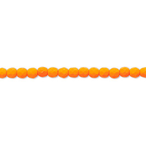 bead, preciosa, czech painted fire-polished glass, matte neon orange, 3mm faceted round. sold per 8-inch strand, approximately 65 beads.