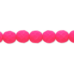 bead, preciosa, czech painted fire-polished glass, matte neon pink, 8mm faceted round. sold per 8-inch strand, approximately 25 beads.
