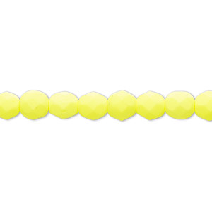 bead, preciosa, czech painted fire-polished glass, matte neon yellow, 6mm faceted round. sold per 8-inch strand, approximately 35 beads.