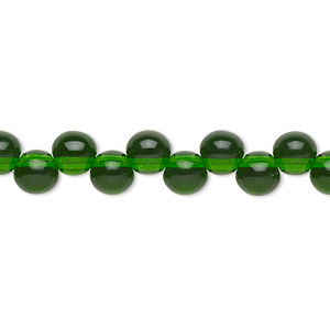 bead, preciosa, czech pressed glass druk, transparent emerald green, 6mm top-drilled round with 0.8-0.9mm hole. sold per pkg of 30.