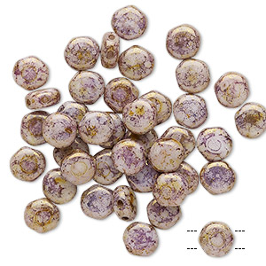 bead, preciosa, czech pressed glass, marbled opaque purple, 6mm puffed disc with (2) 0.7-0.8mm holes. sold per pkg of 40.