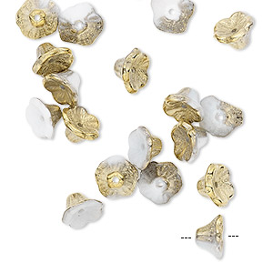 bead, preciosa, czech pressed glass, opaque alabaster bronze gold, 7x4.5mm flower with 0.8-0.9mm hole. sold per pkg of 20.