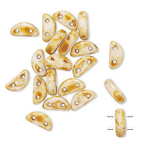 bead, preciosa, czech pressed glass, opaque alabaster tortoise cream, 8.5x3mm half moon with (2) 0.8-0.9mm holes. sold per pkg of 20.