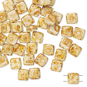 bead, preciosa, czech pressed glass, opaque cream tortoise, 6x6mm flat square with (2) 0.7mm holes. sold per pkg of 40.