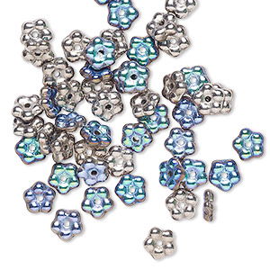 bead, preciosa, czech pressed glass, opaque glittery argentic, 5x2mm forget-me-not flower with 0.8-0.9mm hole. sold per pkg of 50.