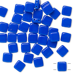 bead, preciosa, czech pressed glass, opaque light blue, 6x6mm flat square with (2) 0.7mm holes. sold per pkg of 40.