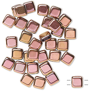 bead, preciosa, czech pressed glass, opaque pale rose copper, 6x6mm flat square with (2) 0.7mm holes. sold per pkg of 40.
