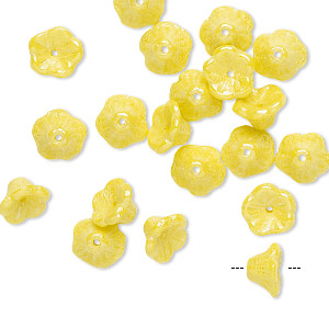 bead, preciosa, czech pressed glass, opaque yellow luster, 7x4.5mm flower with 0.8-0.9mm hole. sold per pkg of 20.