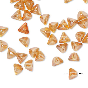 bead, preciosa, czech pressed glass, transparent amber yellow, 6x4mm pyramid with 0.8-0.9mm hole. sold per pkg of 40.