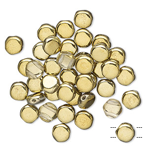 bead, preciosa, czech pressed glass, transparent clear with half-coat opaque gold, 6mm puffed disc with (2) 0.7-0.8mm holes. sold per pkg of 40.